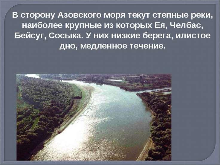 В сторону Азовского моря текут степные реки, наиболее крупные из которых Ея, ...