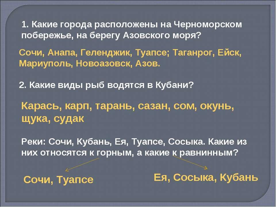 1. Какие города расположены на Черноморском побережье, на берегу Азовского мо...