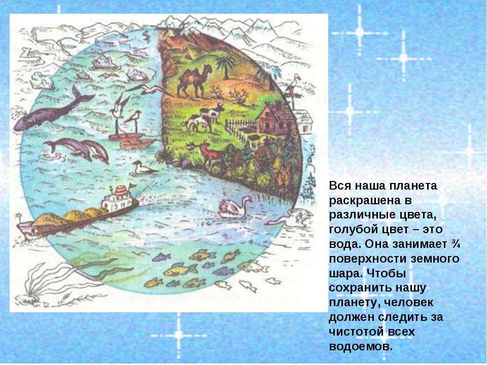 Вся наша планета раскрашена в различные цвета, голубой цвет – это вода. Она з...