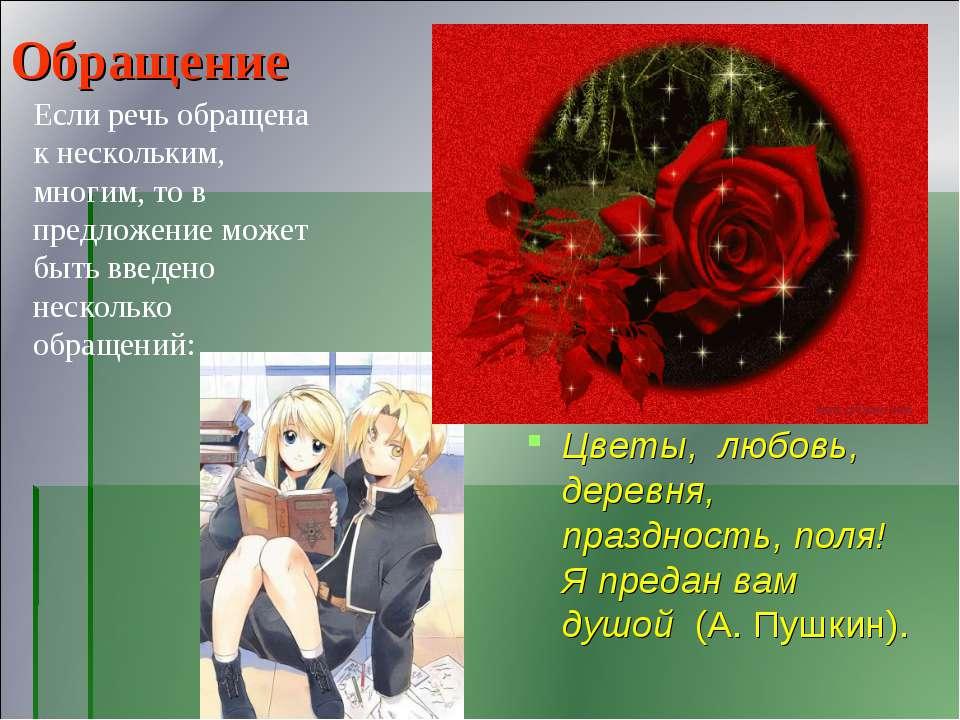 Обращение Цветы, любовь, деревня, праздность, поля! Я предан вам душой (А. Пу...