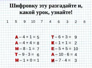 5 8 7 6 1 9 2 10 4 3 М А Т Е А М К И Т А А – 4 + 1 = А – 4 + 4 = М – 8 - 1 = ...