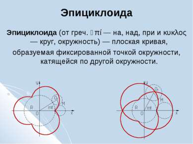 Эпициклоида Эпициклоида (от греч. ὲπί — на, над, при и κυκλος — круг, окружно...
