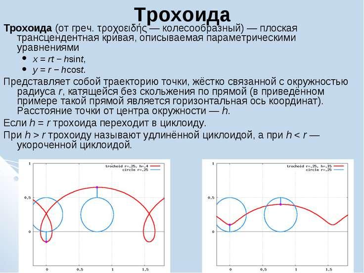Трохоида Трохоида (от греч. τροχοειδής — колесообразный) — плоская трансценде...