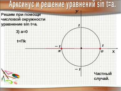 Решим при помощи числовой окружности уравнение sin t=a. 3) а=0 t=Пk Частный с...