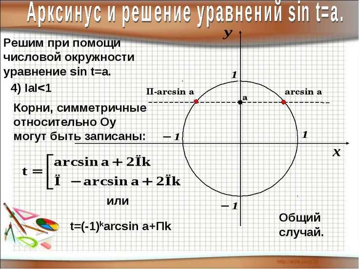 Решим при помощи числовой окружности уравнение sin t=a. 4) IаI