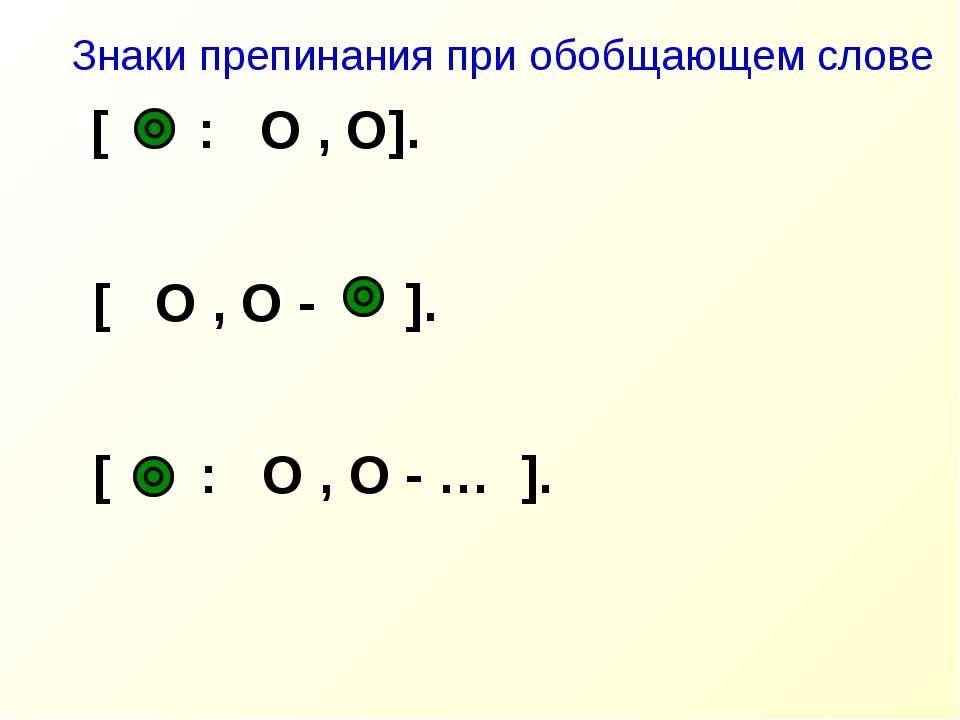 [ : O , O]. Знаки препинания при обобщающем слове