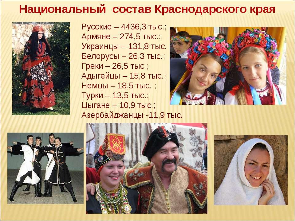 Национальный состав Краснодарского края Русские – 4436,3 тыс.; Армяне – 274,5...