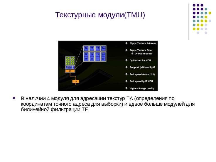 Текстурные модули(TMU) В наличии 4 модуля для адресации текстур TA (определен...