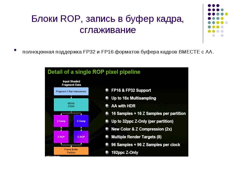 Блоки ROP, запись в буфер кадра, сглаживание полноценная поддержка FP32 и FP1...