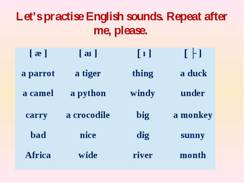 Let's practise English sounds. Repeat after me, please. [æ] [aı] [ı] [ʌ ] a p...