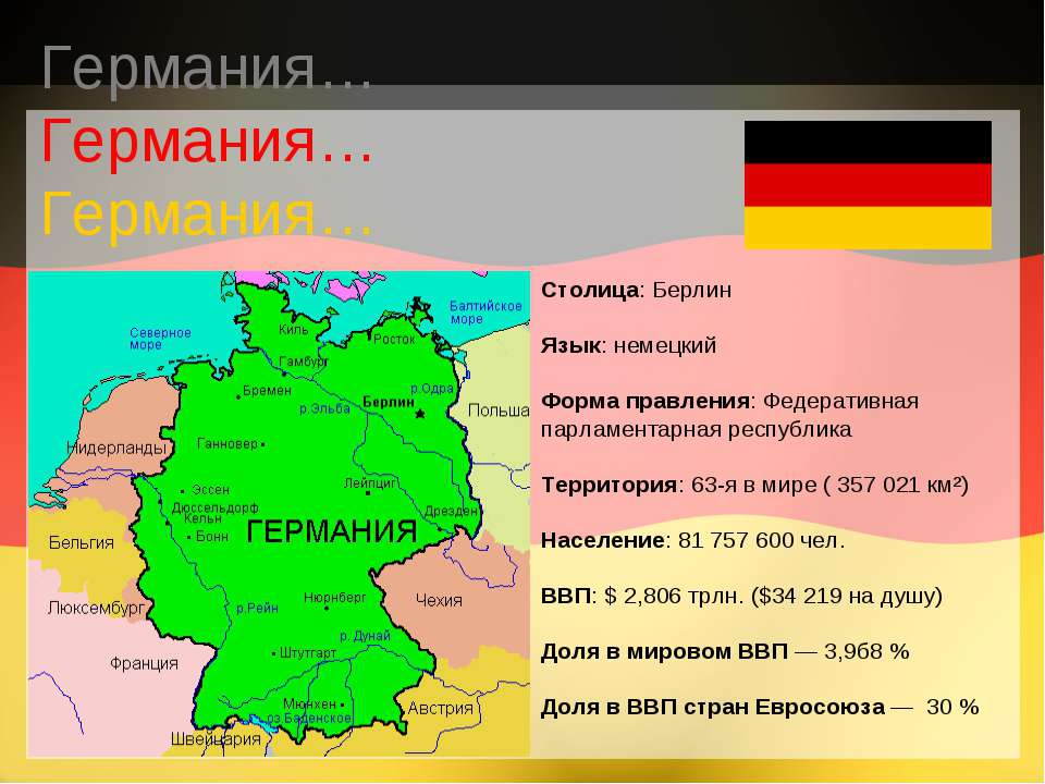 Столица: Берлин Язык: немецкий Форма правления: Федеративная парламентарная р...