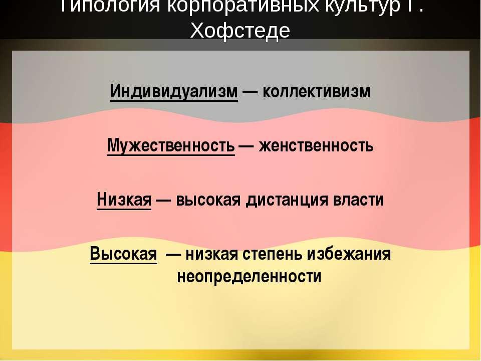 Типология корпоративных культур Г. Хофстеде Индивидуализм — коллективизм Муже...