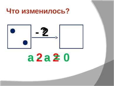 Что изменилось? ? - 2 2 - 2 а - а = 0