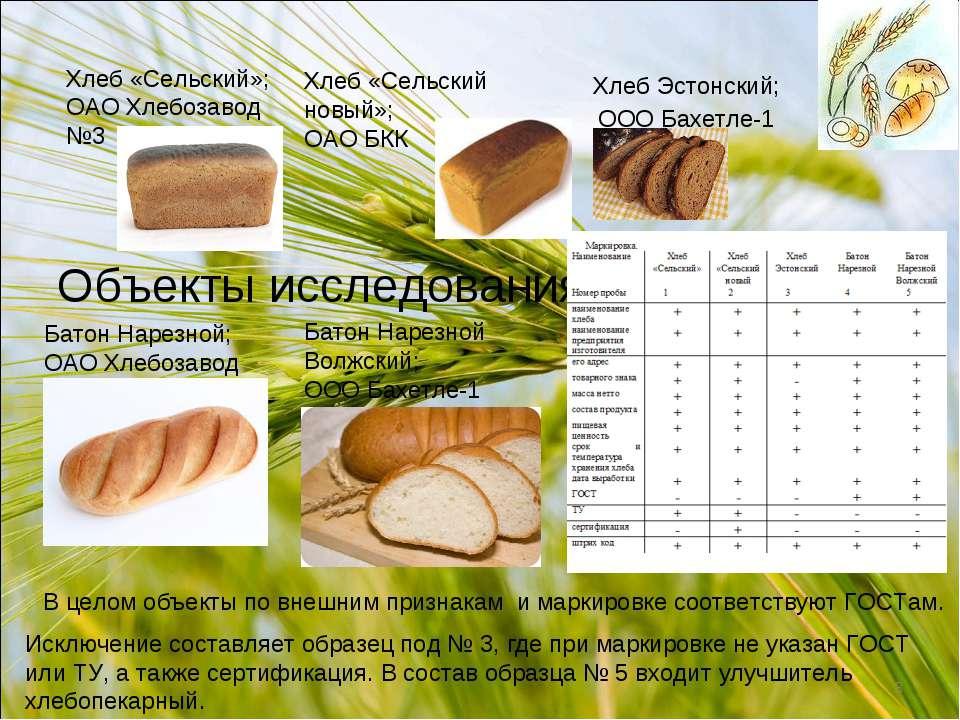 Объекты исследования Хлеб «Сельский»; ОАО Хлебозавод №3 Хлеб «Сельский новый»...