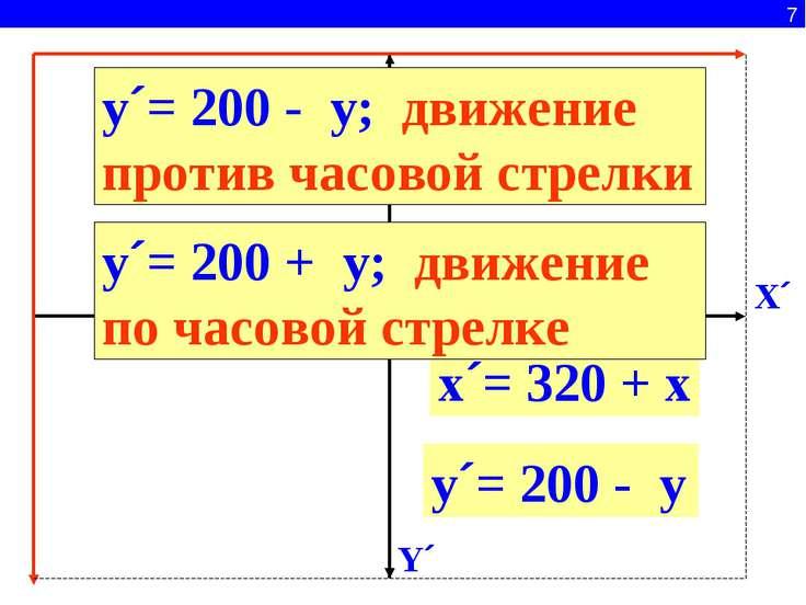 7 x´= 320 + x y´= 200 + y X´ Y´ y´= 200 - y y´= 200 - y; движение против часо...
