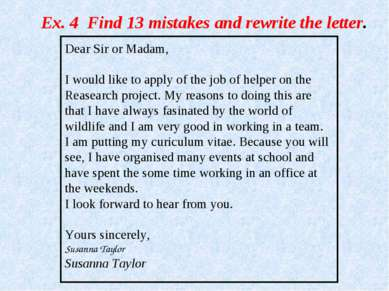 Dear Sir or Madam, I would like to apply of the job of helper on the Reasearc...