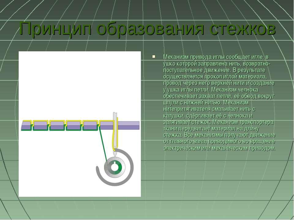 Принцип образования стежков Механизм привода иглы сообщает игле, в ушко котор...