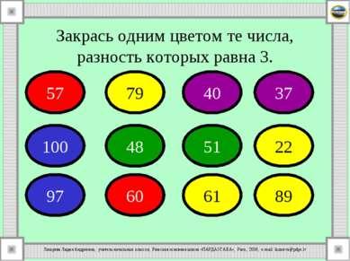 Закрась одним цветом те числа, разность которых равна 3. 57 79 40 37 100 48 5...