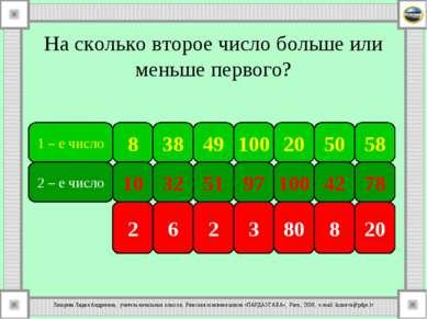 На сколько второе число больше или меньше первого? 1 – е число 8 38 100 49 50...