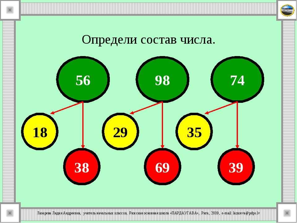 Определи состав числа. 56 98 74 18 29 35 38 69 39 Лазарева Лидия Андреевна, у...