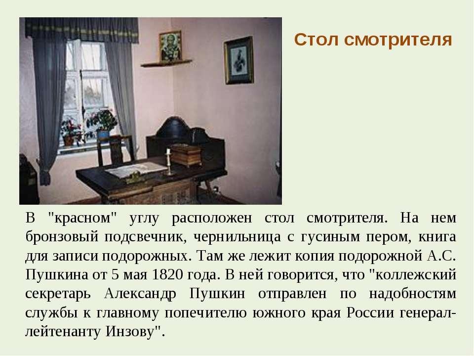 """В """"красном"""" углу расположен стол смотрителя. На нем бронзовый подсвечник, чер..."""