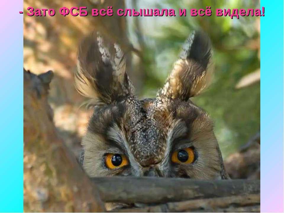 - Зато ФСБ всё слышала и всё видела!