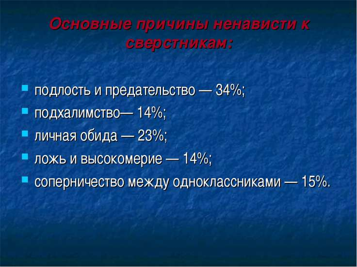 Основные причины ненависти к сверстникам: подлость и предательство — 34%; под...