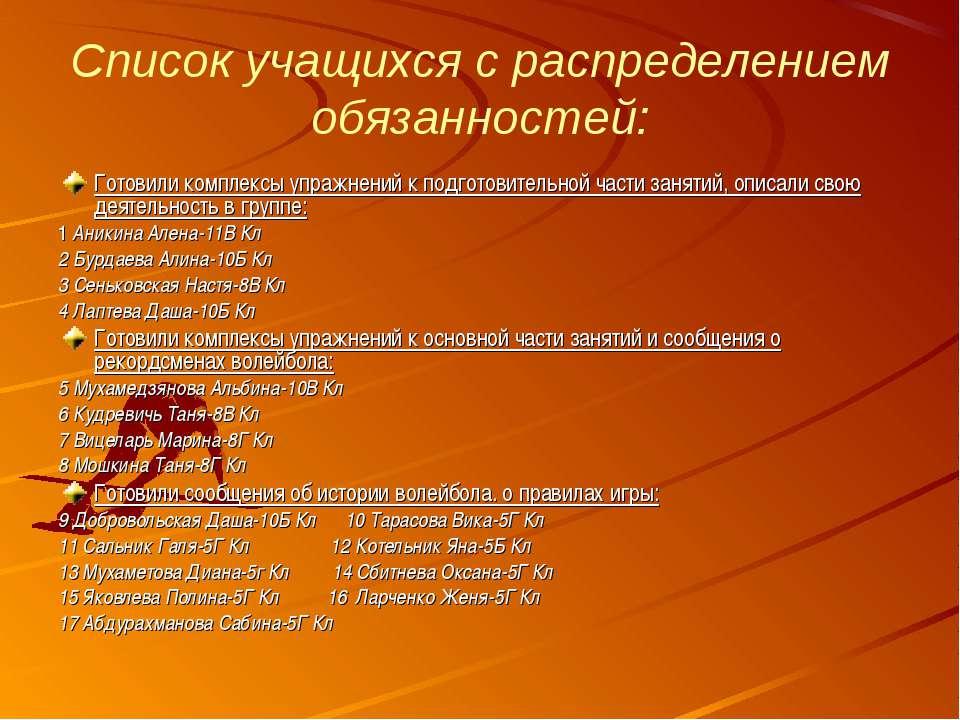 Список учащихся с распределением обязанностей: Готовили комплексы упражнений ...