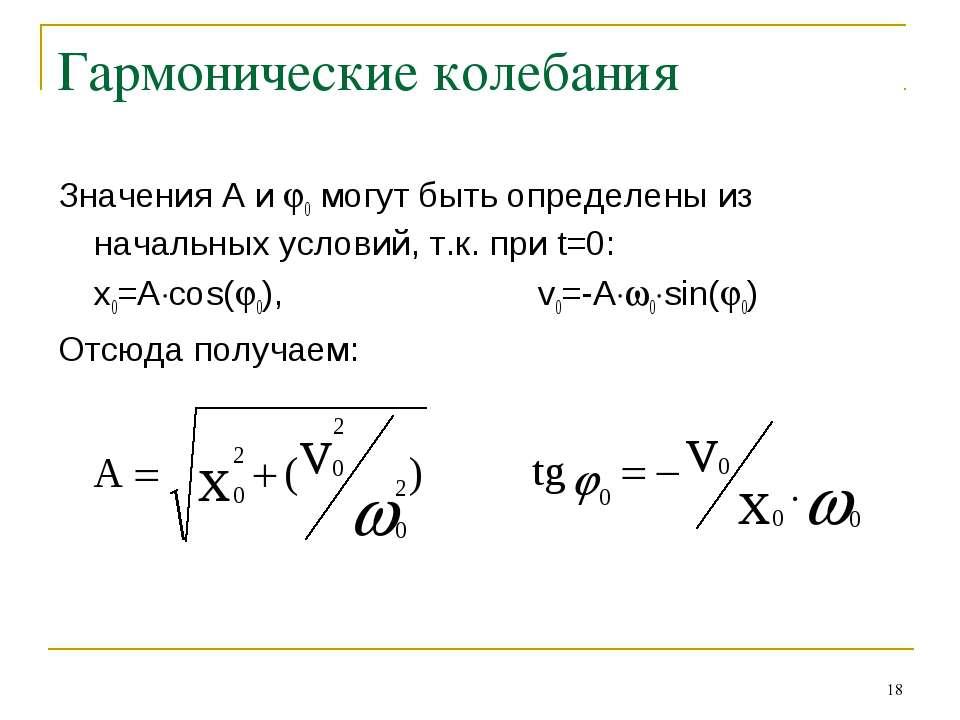 * Гармонические колебания Значения A и 0 могут быть определены из начальных у...