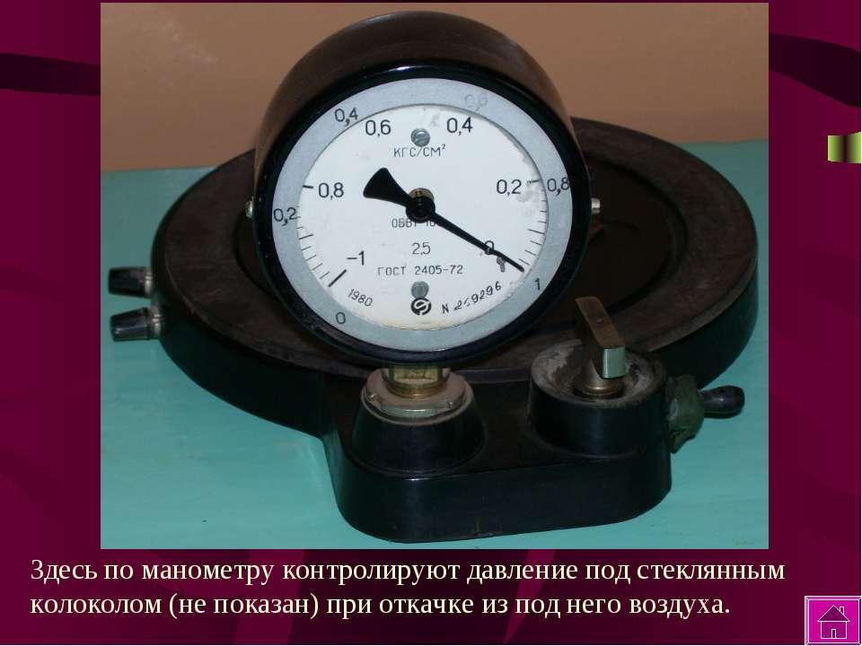 Здесь по манометру контролируют давление под стеклянным колоколом (не показан...