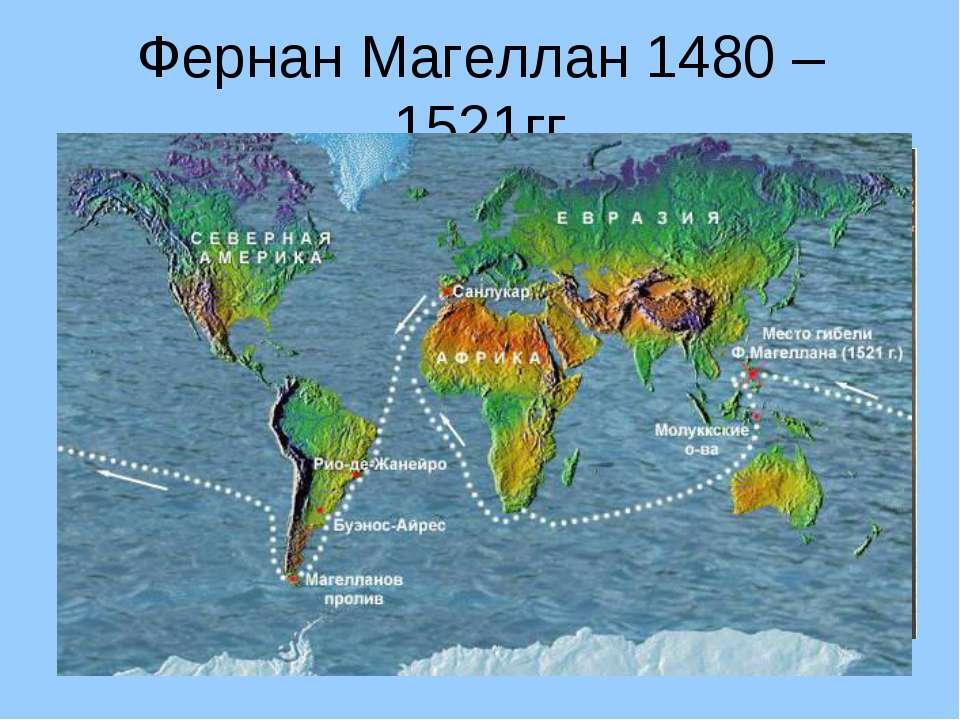 Фернан Магеллан 1480 – 1521гг Совершил кругосветное путешествие, открыл Магел...