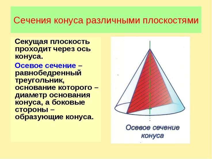 Сечения конуса различными плоскостями Секущая плоскость проходит через ось ко...
