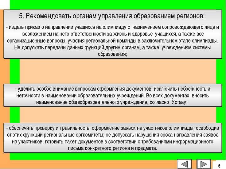 5. Рекомендовать органам управления образованием регионов: - издать приказ о ...