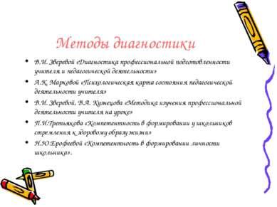 Методы диагностики В.И. Зверевой «Диагностика профессиональной подготовленнос...