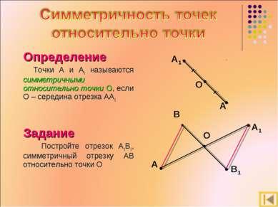 Определение Точки A и A1 называются симметричными относительно точки О, если ...