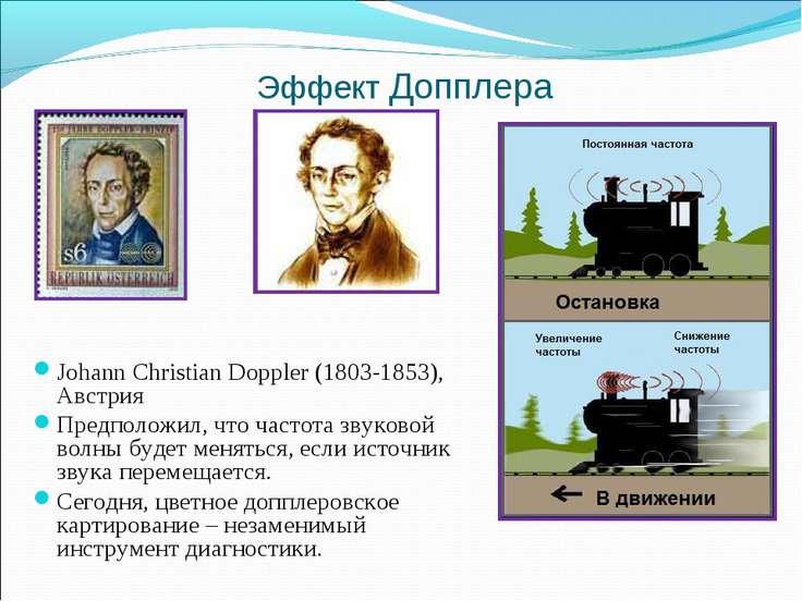 Эффект Допплера Johann Christian Doppler (1803-1853), Австрия Предположил, чт...