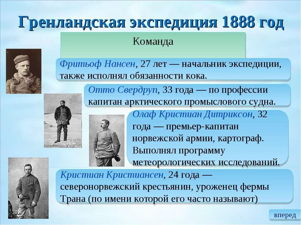 Гренландская экспедиция 1888год Команда Фритьоф Нансен, 27 лет— начальник э...