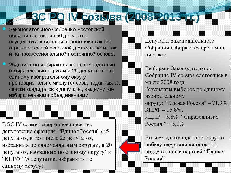 Законодательное Собрание Ростовской области состоит из 50 депутатов, осуществ...