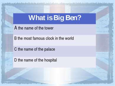 What is BigBen? Athe nameof the tower Bthemost famous clock in the world Cthe...