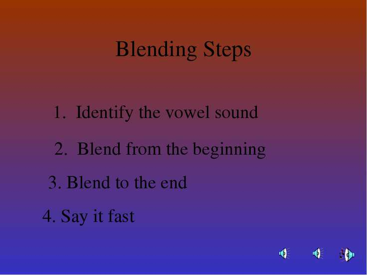 Blending Steps Identify the vowel sound Blend from the beginning Blend to the...
