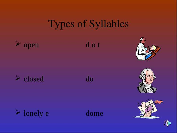 Types of Syllables open d o t closed do lonely e dome