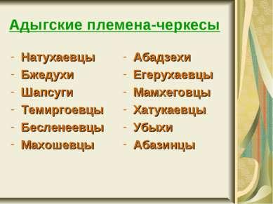 Адыгские племена-черкесы Натухаевцы Бжедухи Шапсуги Темиргоевцы Бесленеевцы М...