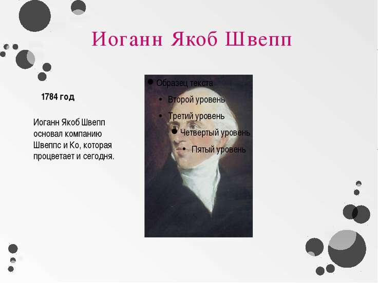 Иоганн Якоб Швепп Иоганн Якоб Швепп основал компанию Швеппс и Ко, которая про...