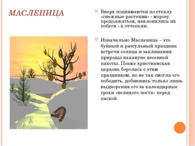 МАСЛЕНИЦА Вверх поднимаются по стеклу «снежные растения» - морозу продолжатьс...