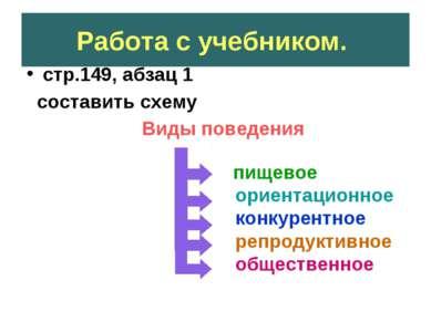 Работа с учебником. стр.149, абзац 1 составить схему Виды поведения пищевое о...