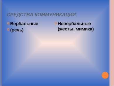 СРЕДСТВА КОММУНИКАЦИИ: Вербальные (речь) Невербальные (жесты, мимика)