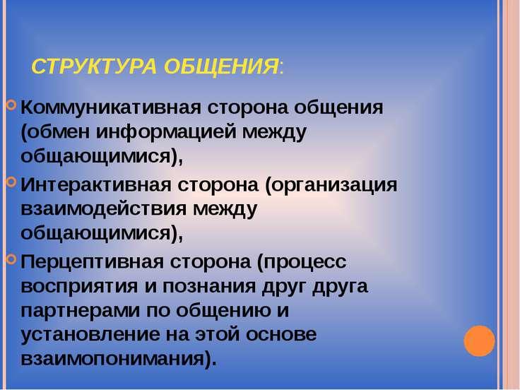 СТРУКТУРА ОБЩЕНИЯ: Коммуникативная сторона общения (обмен информацией между о...