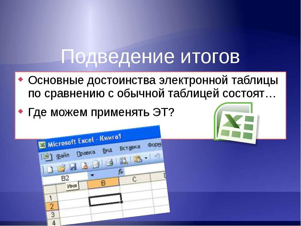 Подведение итогов Основные достоинства электронной таблицы по сравнению с обы...