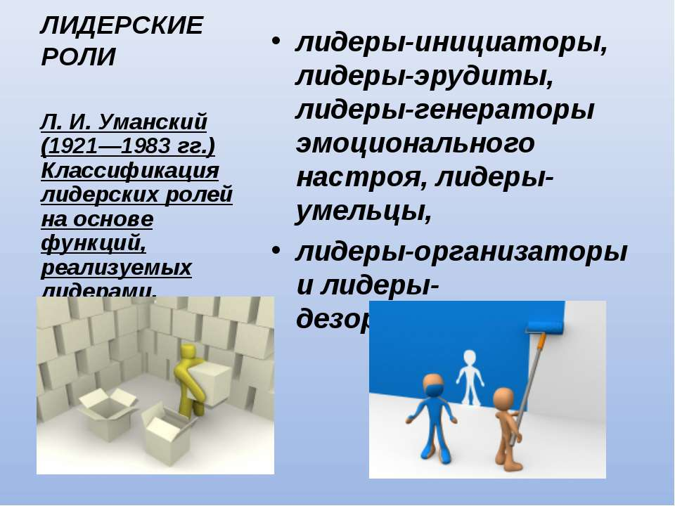 ЛИДЕРСКИЕ РОЛИ лидеры-инициаторы, лидеры-эрудиты, лидеры-генераторы эмоционал...