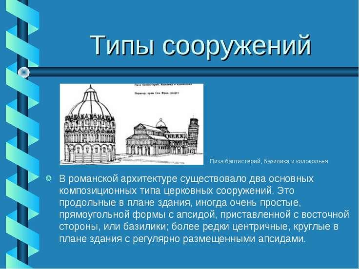 Типы сооружений В романской архитектуре существовало два основных композицион...